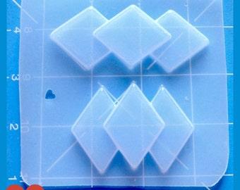 SALE 2 Retro Rockabilly 50's Art Deco Diamond Brooches  Flexible Plastic Handmade Resin Mold