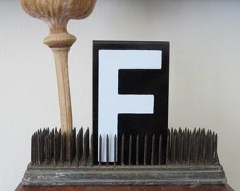 vintage sign letters, metal sign letters, old sign letters, black and white letters, letter F, capital F, vintage alphabet letters, initials