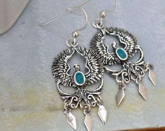 sterling silver earrings, PHOENIX, long dangler earrings, phoenix bird earrings sterling silver,