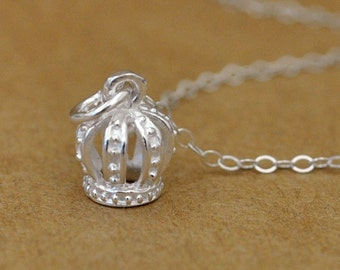 sterling silver necklace, tiny crown, princess necklace, TINY CROWN, small crown charm necklace, petite, layering necklace, gift for girl