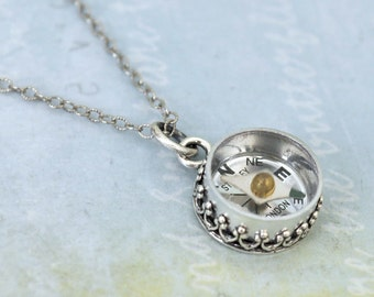 silver compass necklace - GUIDANCE - antiqued sterling silver necklace with miniature vintage working compass