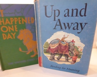 Vintage Children's School Books It Happened One Day and Up and Away