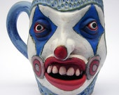Eye Like You Face jug Stalker Clown Cup made with high fire stoneware