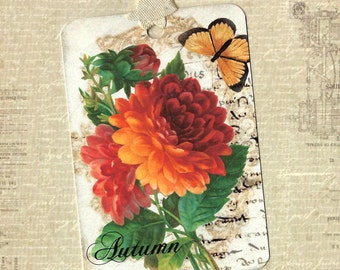 Autumn, Gift Tags, Autumn Tags, Chrysanthemum, Fall Season, Tags
