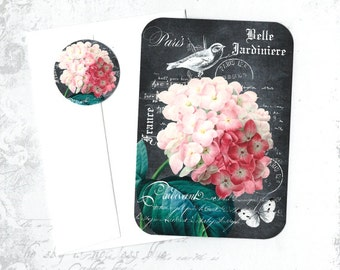 Hydrangea, Note Cards, Floral Cards, Hydrangea Cards, Note Card Set, Stickers