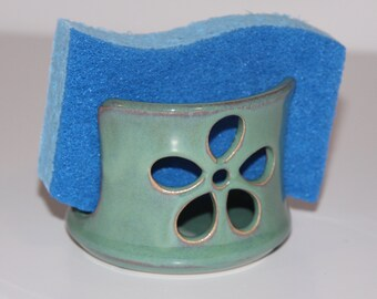Sea Foam Green Flower Ceramic Sponge Holder | Made to order