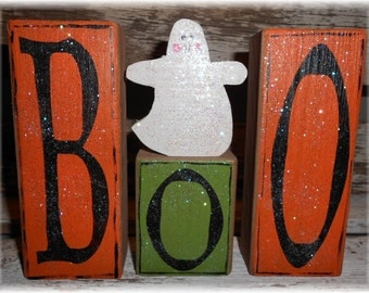 Halloween Boo Blocks Set Of 3 Orange & Green Boo Halloween Blocks With Ghost On Block Shelf Sitter Halloween Blocks Halloween Decoration