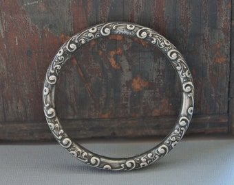 Victorian Sterling Repousse Bangle Bracelet