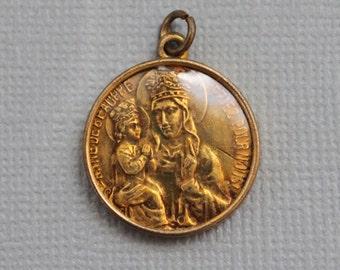 Antique Saint Anne de Beaupre French Medal / Religious Relic Pendant