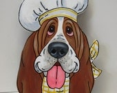 "Basset Hound Accessory holder - ""Chef Rene""  Yellow Check Scarf - Made to Order"