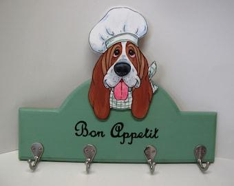 "Made to Order Hand Painted Basset Hound Kitchen Accessory Holder in Sage Green - ""Chef Poirot"""