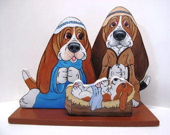 Hand Painted Basset Hound Nativity Table Top Art