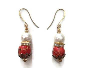 Oriental Asian Chic Gold Beaded Dangle Earrings with Vintage Pearls and Wood Beads In Orange Ivory Gold