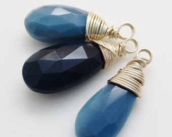 Oregon Owyhee Blue Opal long Gemstone Sterling Silver Briolette Charms Qty 3