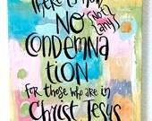 OOAK, Original Scripture Bible Verse Art, no condemnation belong to Christ Jesus, Romans 8.1, 8 X 10 Collage, Handlettered Bible Verse