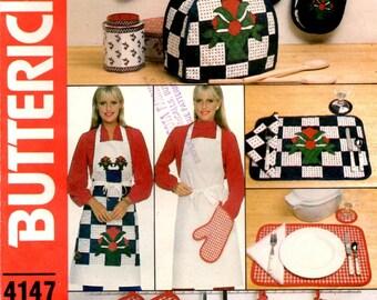 Kitchen Accessories Apron Casserole Mitt Pad Pot Holder Napkin Coaster Appliance Covers Place Mats Uncut Butterick Sewing Pattern 4147 / 215