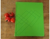 Leather journal - Lime green - Geometric - blank book