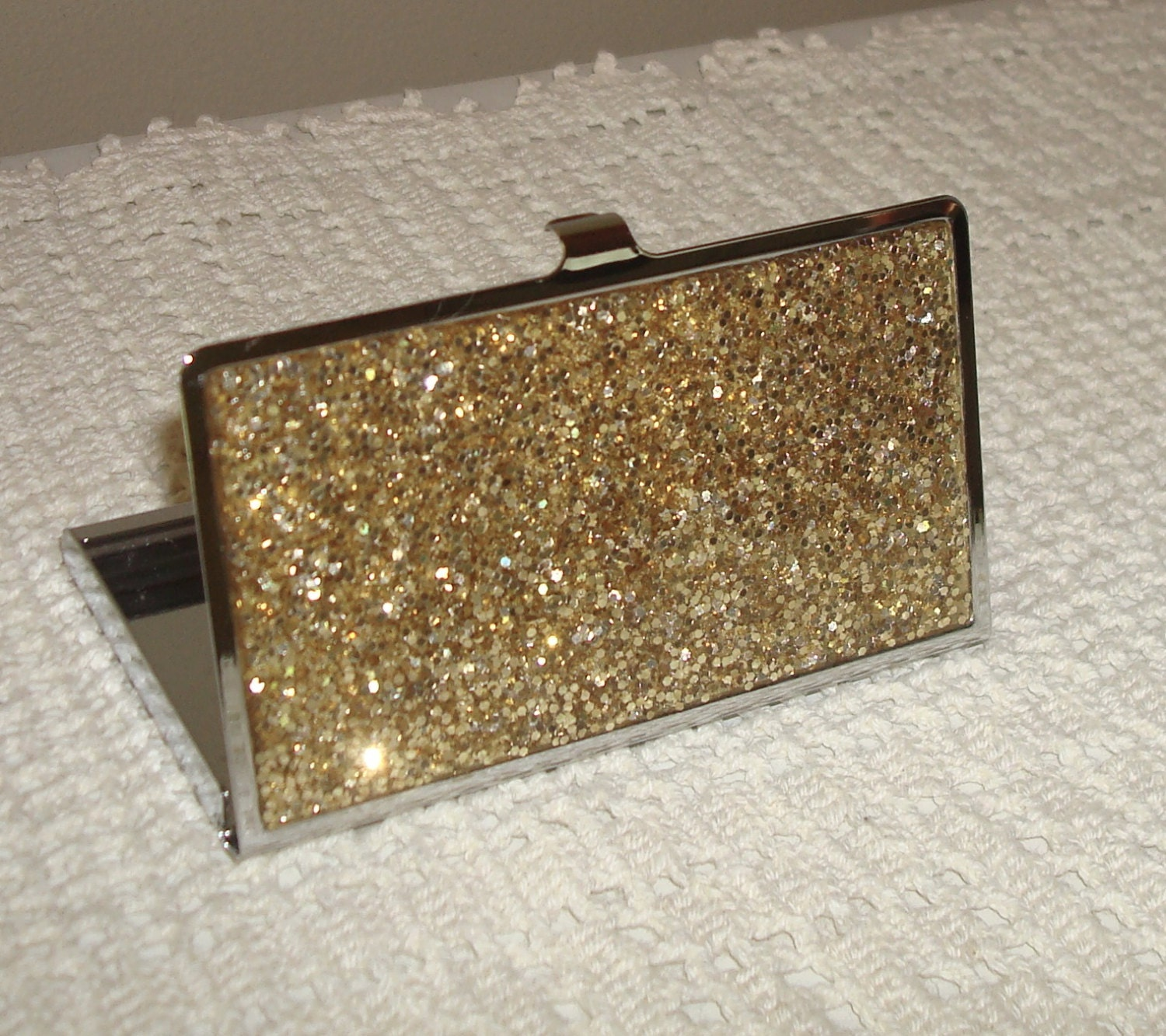 Gold Glitter Business Card Holder Business Card by