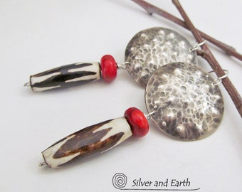 Sterling Silver Tribal Earrings African Earrings Rustic Bohemian Ethnic Tribal Jewelry Metalsmith Earrings Handmade Artisan Silver Jewelry