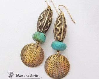 Boho Tribal Earrings, Brass Earrings, Gold & Turquoise Earrings, African Tribal Jewelry, Ethnic African Earrings, Artisan Metalwork Jewelry