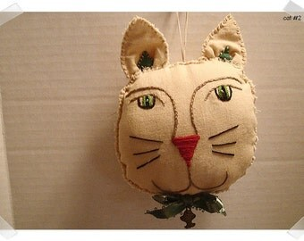 Fabric Cat Ornament/Tea Dyed Muslin Fabric/Handmade/ #2**