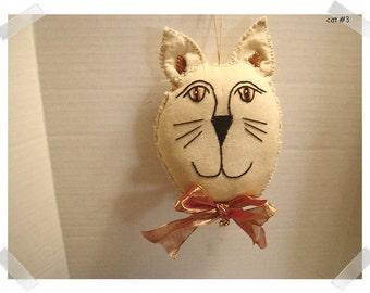 Fabric Cat Ornament/Tea Dyed Muslin Fabric/Handmade/#3**