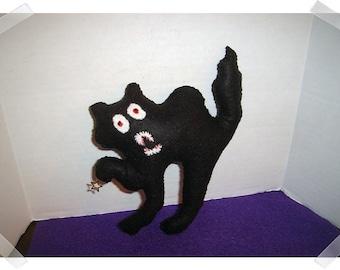 Scary Black Felt Cat Decoration/Halloween/Handmade/ Already made to ship**