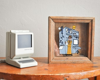 "Vintage 80s ""Computer"" Original Flip Phone Land Line Telephone and framed Computer Glass Painting"
