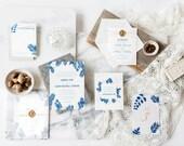 Fern Wedding Invitation, Blue Wedding Invitation, Winter Wedding Invitation, Botanical Wedding Invitation, Gold, Wax Seal, Vellum, Lavender