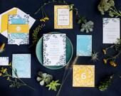 Vine Wedding Invitation, Blue Wedding Invitation, Yellow Wedding Invitation, Botanical Wedding Invitation, Gold Foil, Modern, Colorful