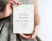 Destination Wedding Invitation, Letterpress Wedding Invitation, Rustic, Botanical Wedding Invitation, Blind Deboss, Floral, Beach Wedding