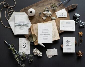 Garden Wedding Invitation, Letterpress Wedding Invitation, Rustic, Destination Wedding Invitation, Blind Deboss, Tropical, Beach Wedding