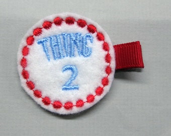 Felt Thing 2 Two Alligator Single Prong Hair Clip