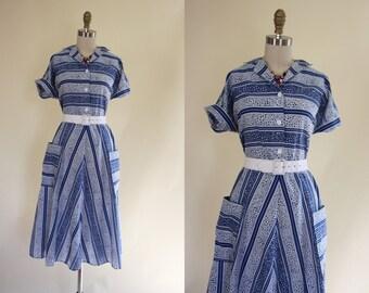 50s Dress - Vintage 1950s Dress - Blue White Novelty Print Cotton Full Skirt Day Dress XL XXL - Ne Plus Ultra Dress