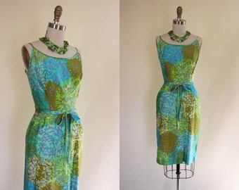 1950s Dress - Vintage 50s Dress - Hawaiian Designer Turquoise Olive Green Cotton Cocktail Party Dress S - Seaweed Maiden Dress