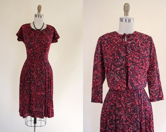 1950s Dress - Vintage 50s Dress - Red Black Jersey Day Dress w Cropped Jacket M - Ruby Tuesday Dress
