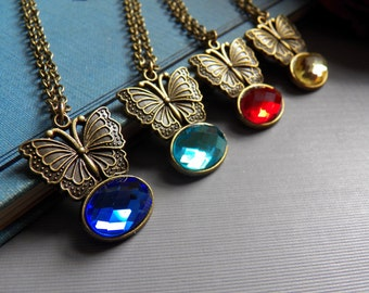 Gorgeous Stocking Stuffer - A Butterfly Talisman Necklace - You Can Pick The Pendant Color - Keepsake Jewelry