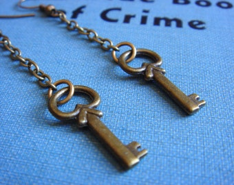 Skeleton Key - Long Earrings - Vintage-Inspired Key - Earrings - Antiqued Brass Skeleton Key Charms -  Keepsake Jewelry by HoneyNest