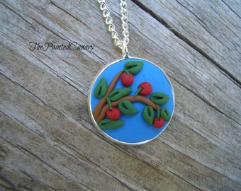 Cherry Necklace pendant, Polymer Clay Jewelry, Creative Fimo Pendent, Blue and Red, Folk Art Jewelry, TPC original design