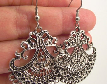 Large Antiqued Silver Ornate Earrings, Fancy Teardrop Earrings, Moroccan Silver Earrings