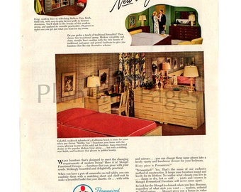 "1947 Mengel Furniture Vintage Ad, ""Permanized"", 1940's Decor, Retro Decor, Advertising Art, 1940's Bedroom, Mid Century Modern."