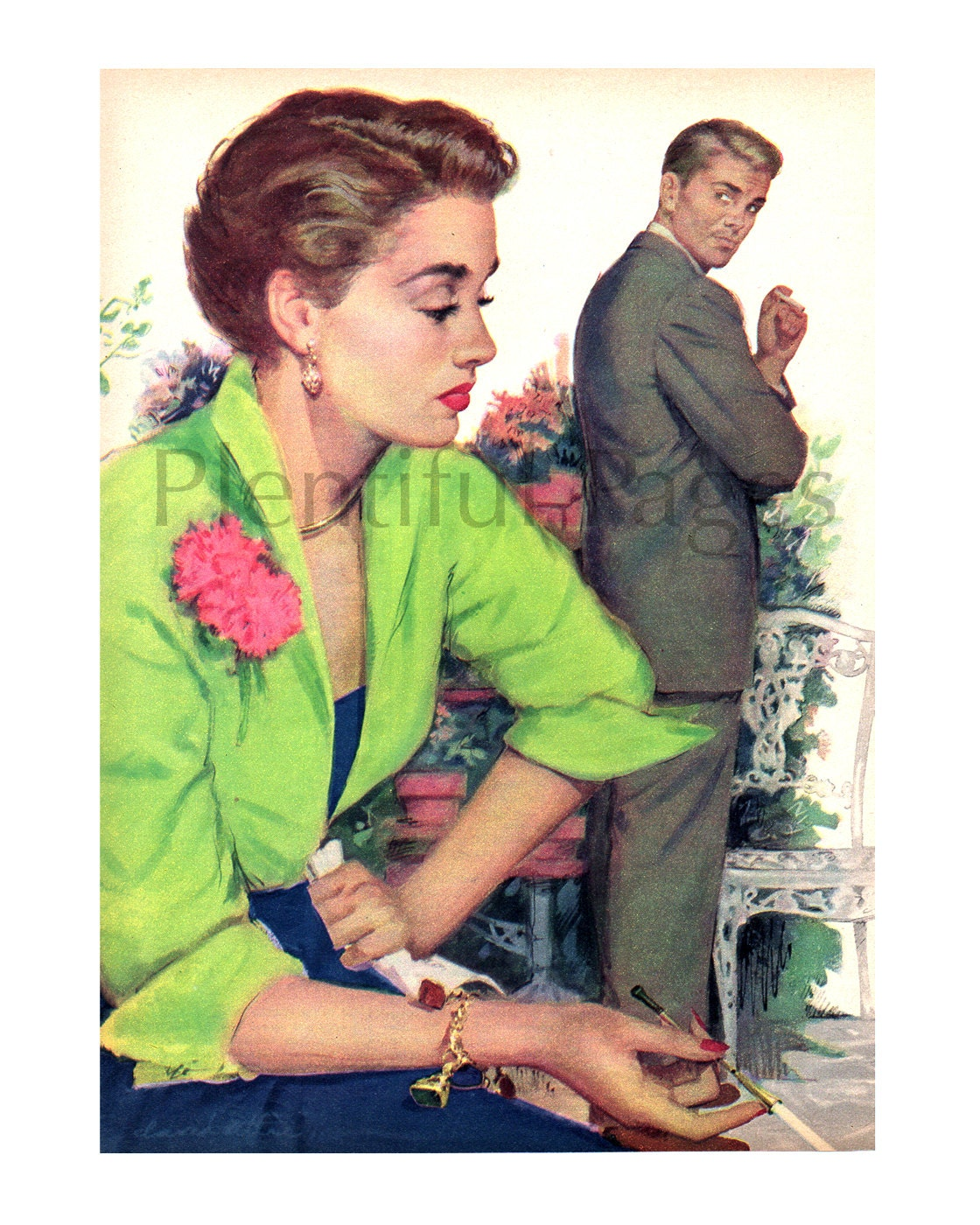 1950 39 S Couple Vintage Magazine Illustration 1950 39 S
