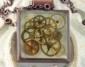 Steampunk Watch Parts Designer Quality Copper Necklace OOAK