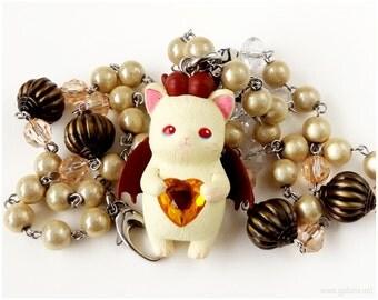 Devil Cat Necklace, Cat Figure Necklace, Cream, Brown, Stainless Steel, Steampunk, Kawaii Jewelry, OOAK