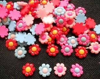 30 pcs Cute Tiny flower cabochon flatback Decoration size12 mm mix color