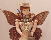 Patience Shopping Angel Assemblage Decoration Doll Statue