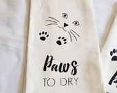 Cat Paws to Dry 100% Linen Tea Towel