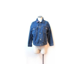 BTS SALE Vintage 90s Blue Preppy Grunge Button Up Denim Jacket women S M L