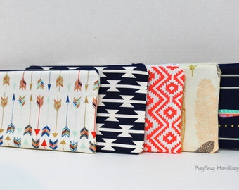 BagEnvy Handbags - Zippered Clutch / Pouch - Make Up Bag -  Choose Your Fabric - Arrows - Feathers - Aztec
