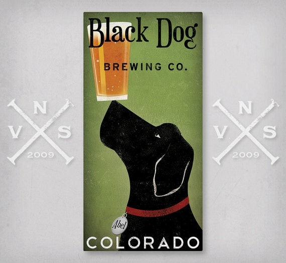 CUSTOM Personalized Black Dog BEER Brewing Company Gallery Wrapped Wall Art  Ready-To-Hang Stretched Canvas